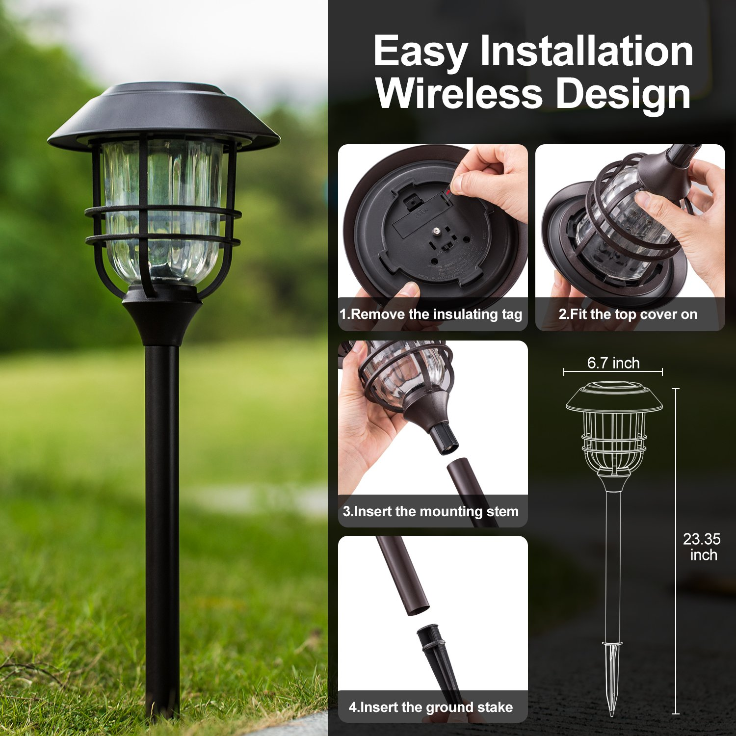 Solar Lights Outdoor Pathway - 4 Pack Bright Glass Solar Powered LED Garden Path Landscape Lighting Bronze Powder Coated Die Casting Aluminum Patio Path Lights Heavy-Duty for All Weather (Bronze) by Sunwind (Image #6)
