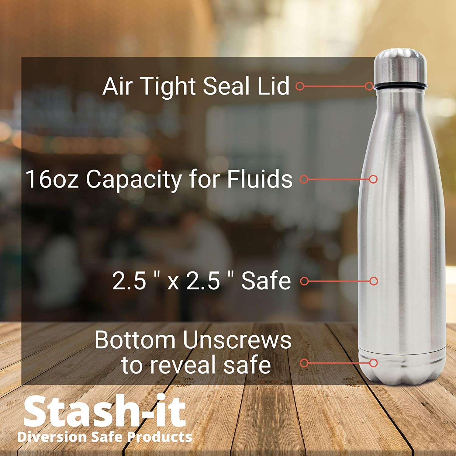 Diversion Water Bottle Can Safe by Stash-it, Stainless Steel Tumbler with Hiding Spot for Money, Bonus Smell Proof Bag, Discreet Decoy for Travel or at Home, Bottom Unscrews to Store your Valuables - -