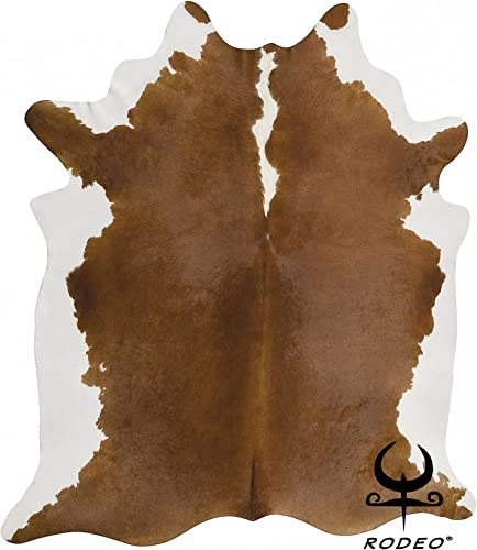 RODEO Brown and White Cow Skin Cowhide Rug Leather Cow Skin Size Approx 7x8ft XXL
