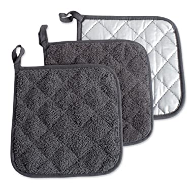 DII 100% Cotton, Terry Pot Holder Set, Potholder, Mineral Gray, 3 Piece