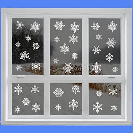 42 elegant snowflake window clings quick and simple christmas decorations glueless pvc stickers