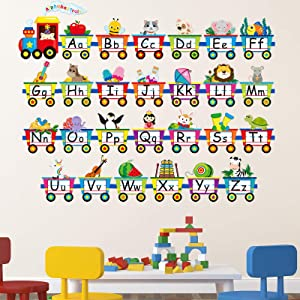 Alphabet Train Wall Decals Peel Stick Animals Alphabet Wall Sticker Early Learning Classroom Bedroom Nursery Playroom Decoration for Children Kids Teens (6 Pieces)