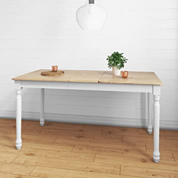 Rhode Island Large Extendable Dining Table In Oak White Seats 6