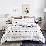 WARMDERN Black Stripe Boho Duvet Cover Set Queen, 3pcs Ultra Soft Breathable Aztec Cotton Comforter Cover with Zipper Ties, 1