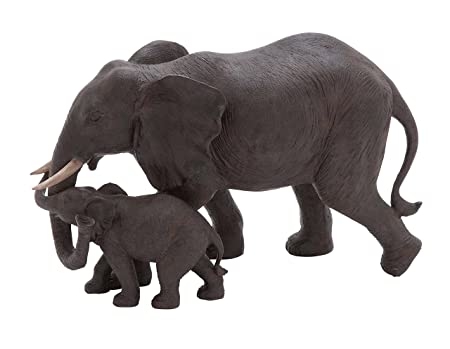 Deco 79 Poly-Stone Elephant, 14 by 9-Inch
