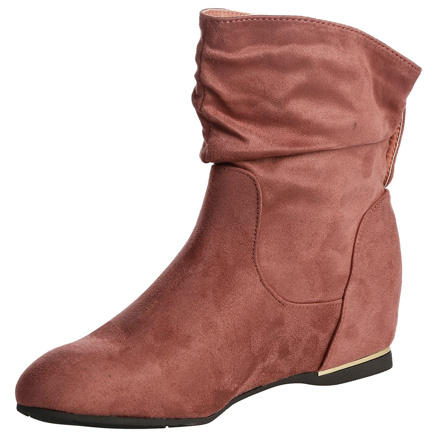 ByPublicDemand Daphne Womens Hidden Wedge Low Heel Slouch Ankle Boots:  Amazon.co.uk: Shoes & Bags