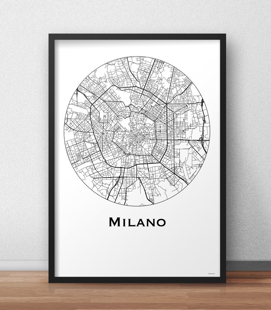 Poster Milano Italia Minimalista Mappa (A4, A3, A2) - Mappa della città, manifesto di Milano, stampa d'arte stampa d' arte