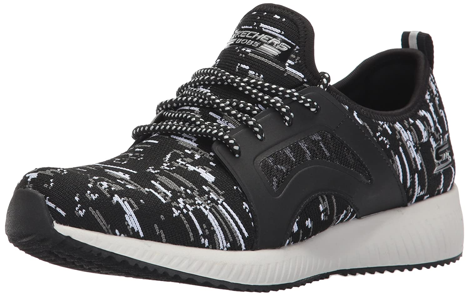 Skechers BOBS from Women's Bobs Squad-Double Dare Fashion Sneaker B01NARYCB4 8 B(M) US|Black/White