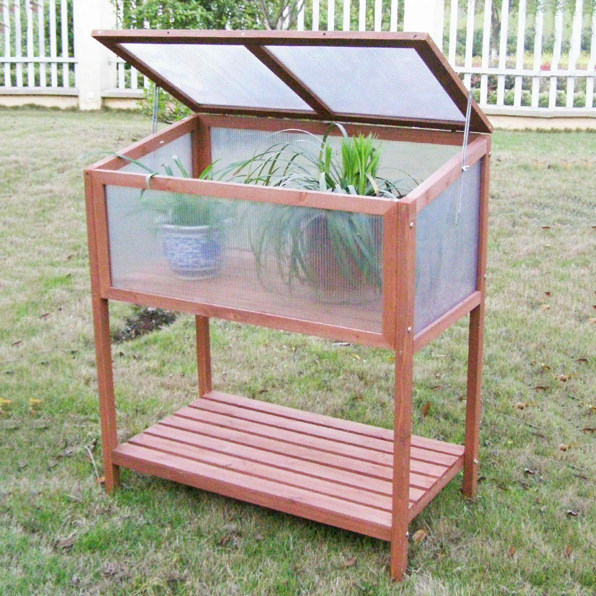 Greenhouse Raised Flower Planter Protection Garden Yard Portable Wooden Cold Frame