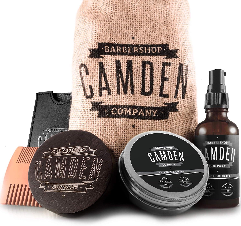 Set deluxe para el cuidado de la barba ● 100% natural ● Hecho en Europa ● Incluye aceite, bálsamo, cepillo y peine para barba ● Set de regalo de Camden Barbershop Company