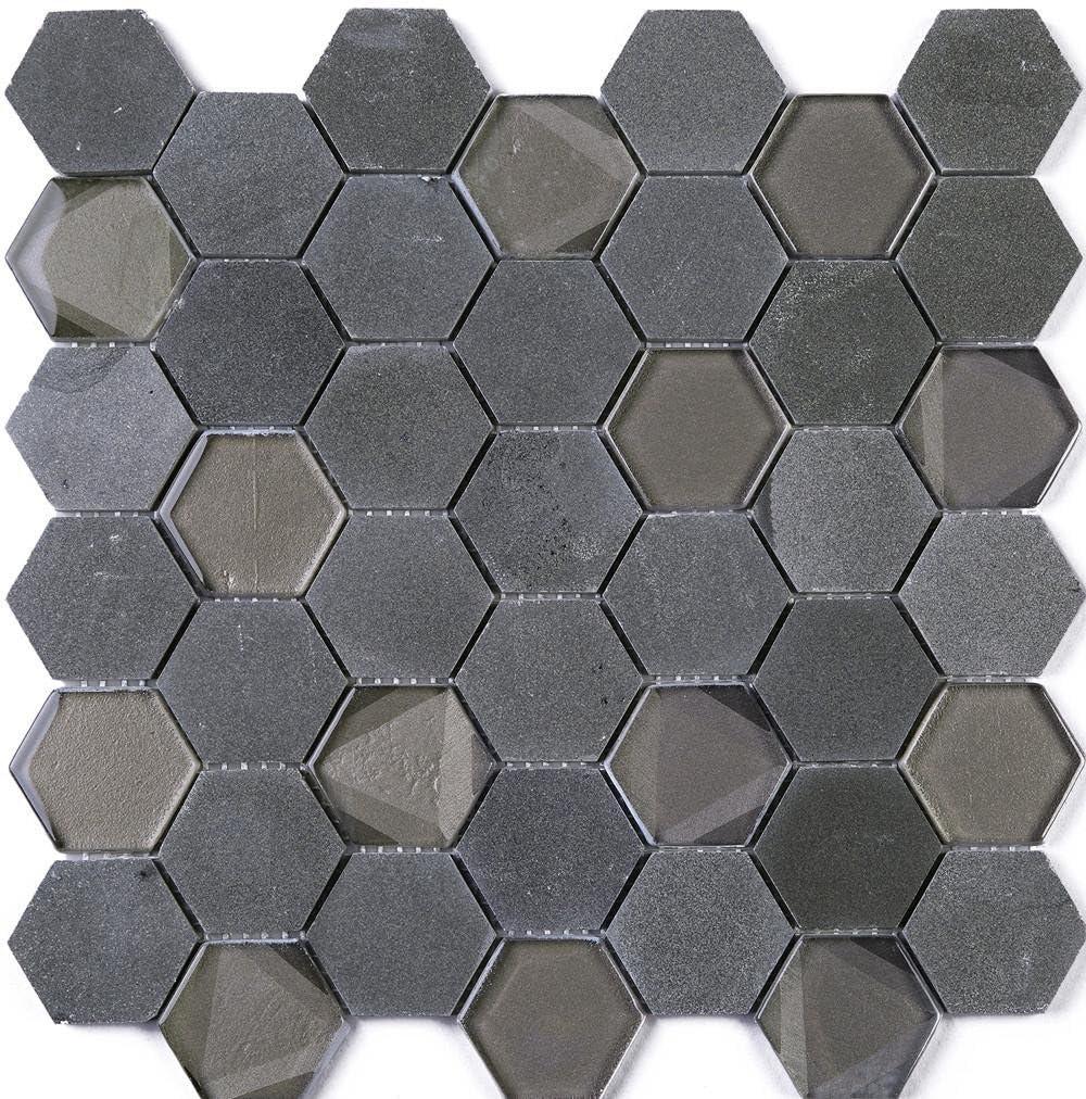 Amazon Com Tphang 05 Charcoal Marble And Charocoal Glass 2 Hexagon Mosaic Tile Sheet Kitchen And Bath Backsplash Wall Tile Sample Swatch Home Kitchen