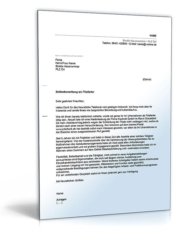 Anschreiben Bewerbung Filialleiter [Word Dokument]: Amazon.de: Software