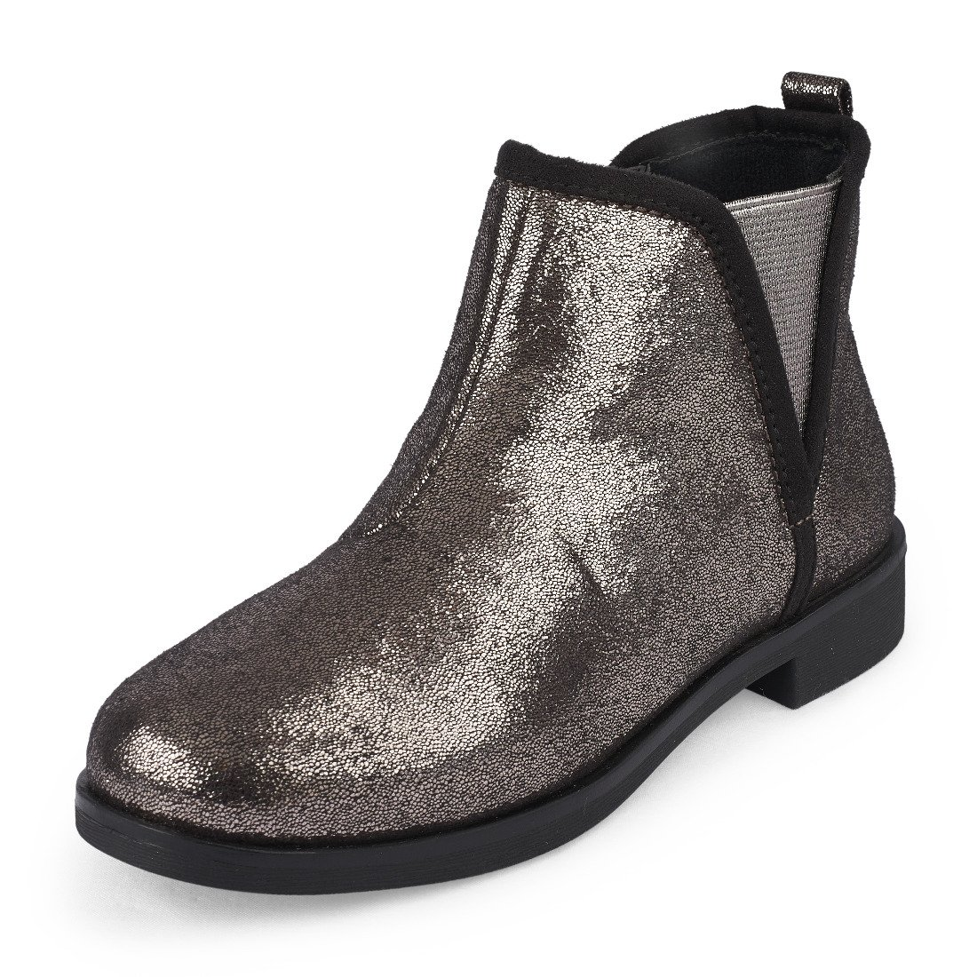 The Children's Place Girls' Ankle Fashion Boot, Gunmetal, Youth 1 M US Little Kid