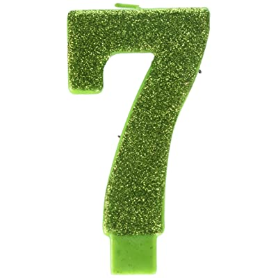 """amscan Numerical Candles, Numeral #7 Large Glitter Candle, Party Supplies, Kiwi, 5 1/4"""": Kitchen & Dining"""