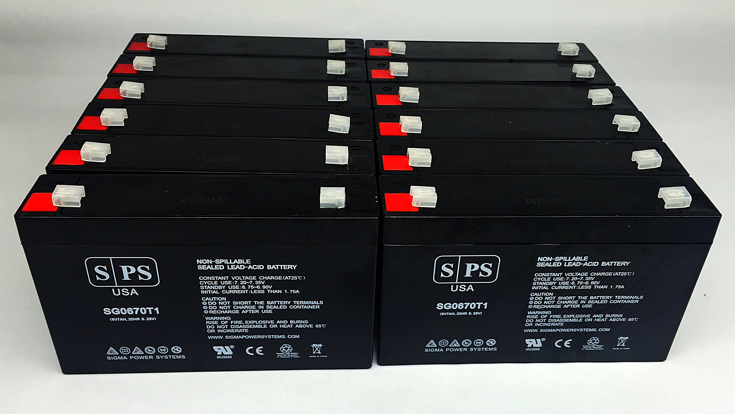 BB HR9-6, HR96 UPS 6V 7Ah Replacement Battery -SPS Brand (12 Pack) by SPS