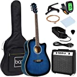 Best Choice Products Beginner Acoustic Electric Guitar Starter Set w/ 41in, All Wood Cutaway Design, Case, Strap, Picks, Tune