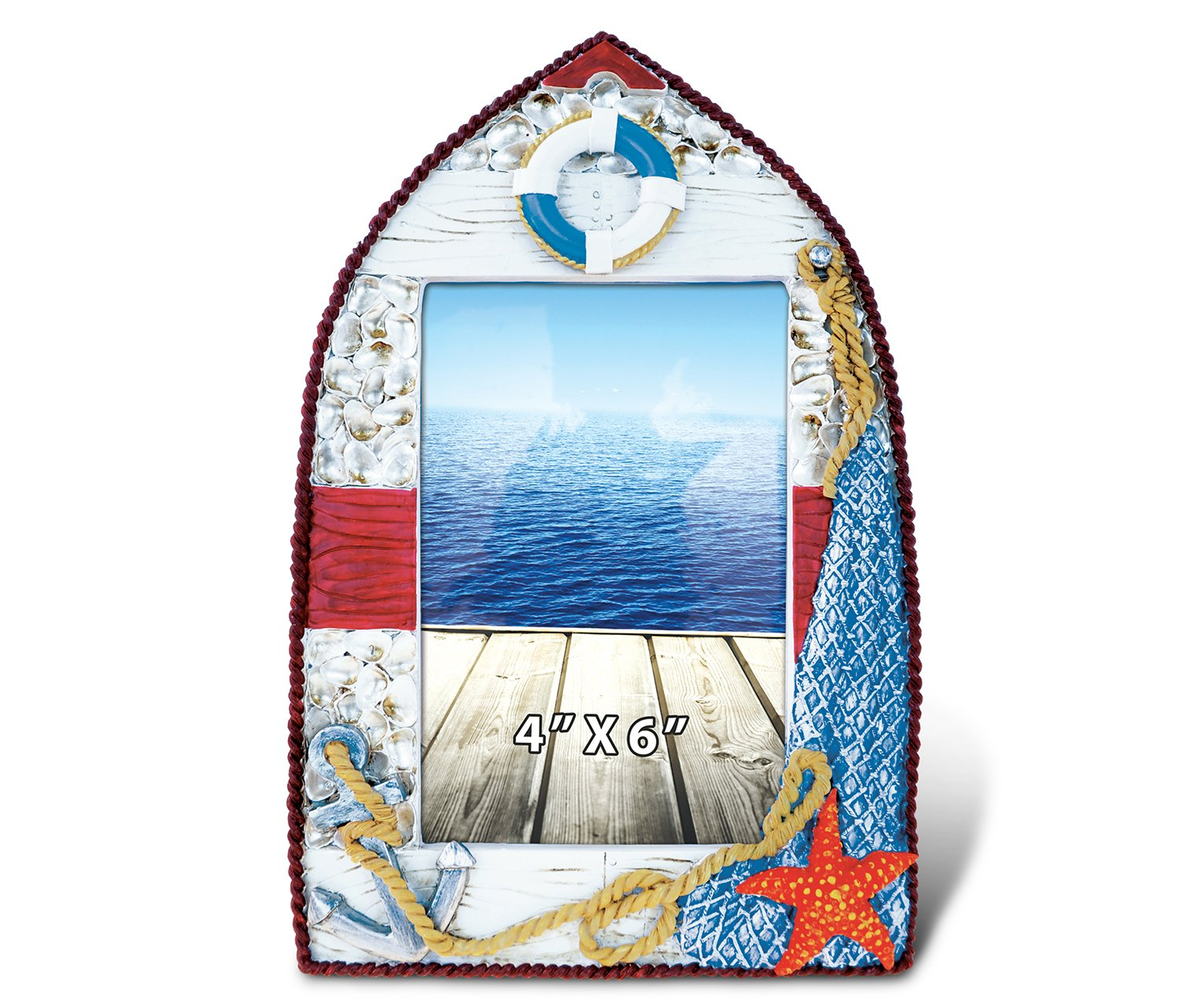 Puzzled Red Nautical Photo Frame 6''x4'' Nautical Picture Frame - Beach Theme - Unique Elegant Gift and Souvenir - Item #9534