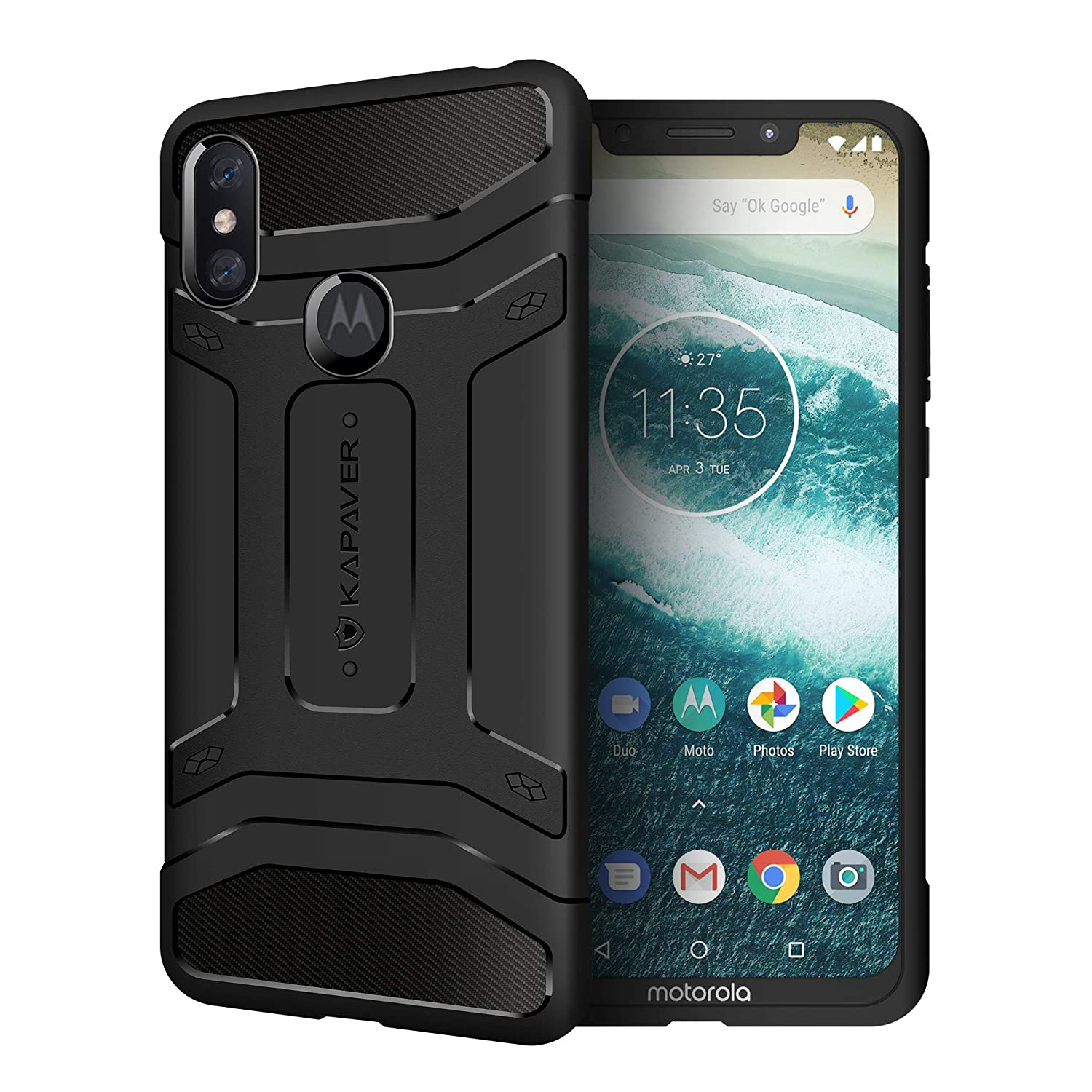 super popular d369c 81e71 KAPAVER® Moto One Power P30 Note Rugged Back Cover Case MIL-STD 810G  Officially Drop Tested Solid Black Shock Proof Slim Armor Patent Design  (Only ...