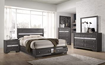 Amazon Com Esofastore Gray Modern Bedroom Set Queen Size Bed