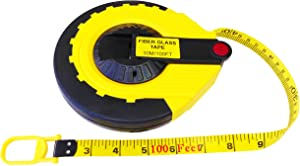 The Perfect Measuring Tape Company - Surveyor's Tape Measure - Rewinding and Compact - Dual Sided - 100' (feet) / 30m (meter)