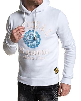 outlet à vendre prix incroyables homme US Marshall - Sweat Blanc Flocage College Official à Capuche ...