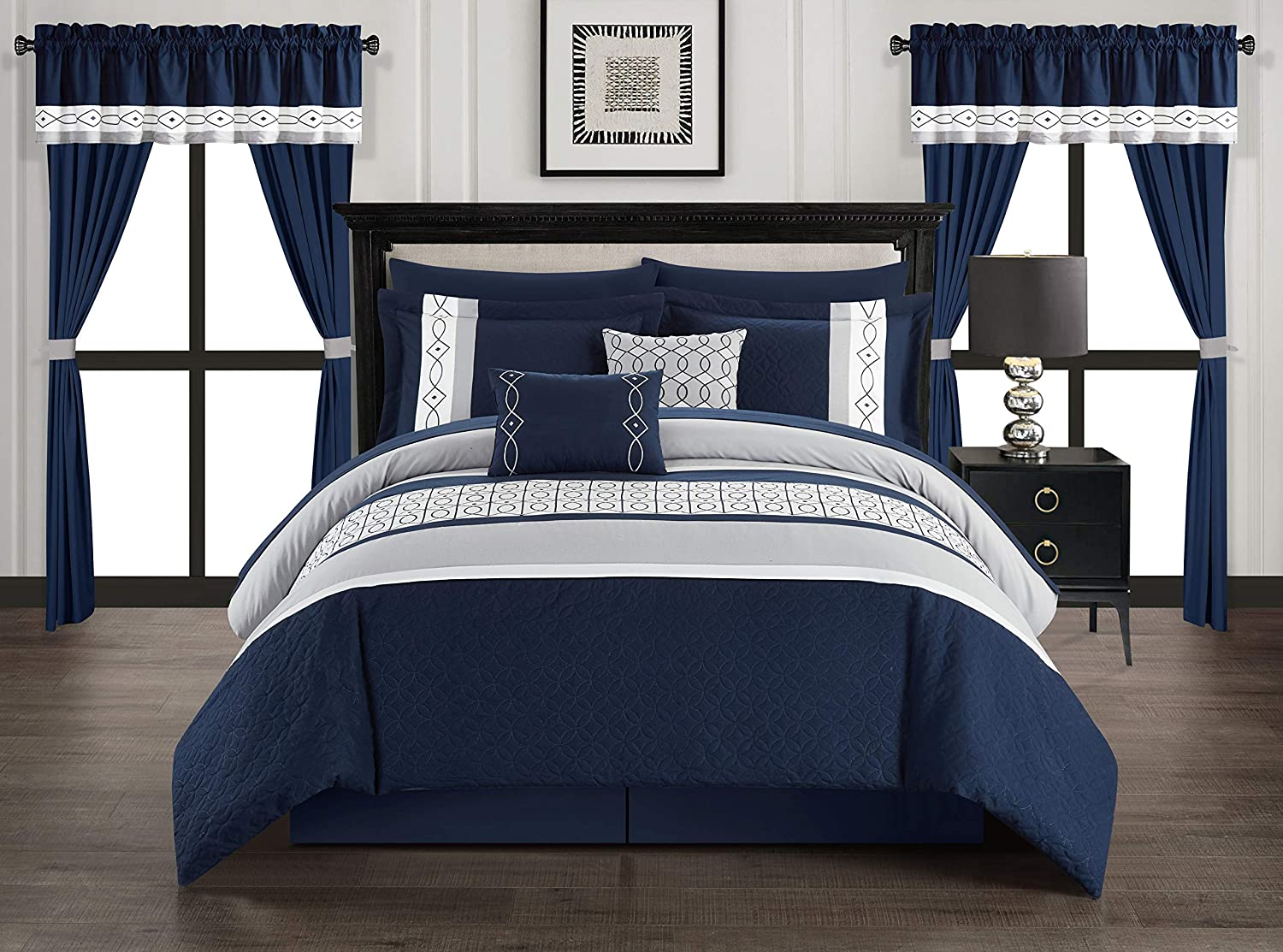 Chic Home Katrin 20 Piece Comforter Color Block Geometric Embroidered Bag Bedding-Sheet Set Pillowcases Window Treatments Decorative Pillows Shams Included, Queen, Navy
