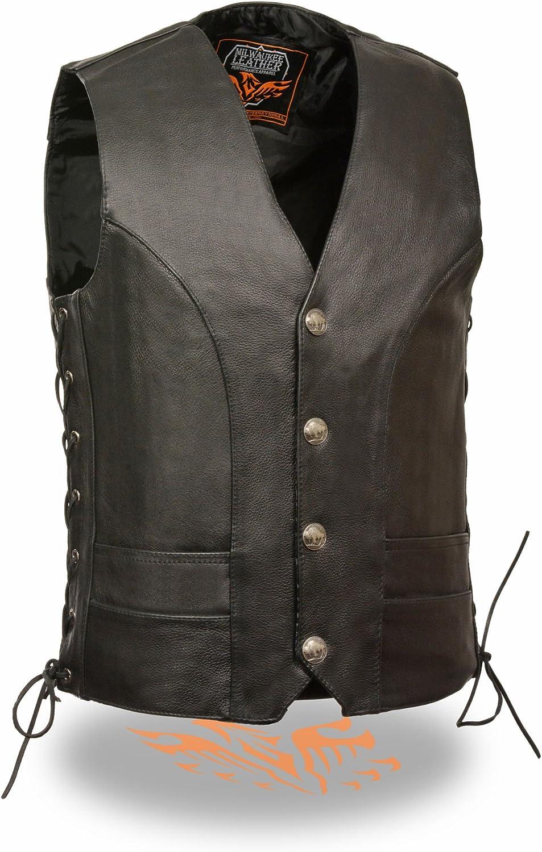 Milwaukee Leather Mens Premium Side Lace Leather Vest w// Buffalo Snaps Black, 38