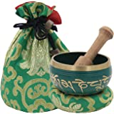DharmaObjects ~ Tibetan OM MANI Singing Bowl Set ~ With Mallet, Brocade Cushion & Carry Bag ~ For Meditation, Chakra Healing, Prayer, Yoga (Green)