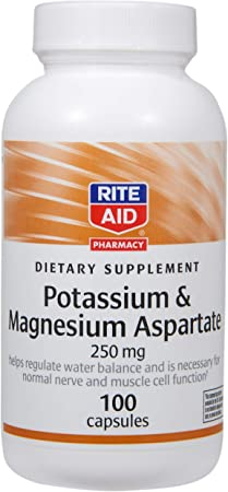 Rite Aid Potassium and Magnesium Aspartate, 250mg - 100 Capsules | Potassium Supplement | Supports Muscle and Nerve Health