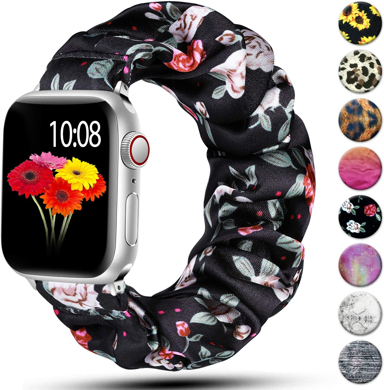 Muranne Scrunchie Bands Compatible with Apple Watch Band 42mm 44mm iWatch SE & Series 6 5 4 3 2 1 for Women Men Red Flower 42mm/44mm Small