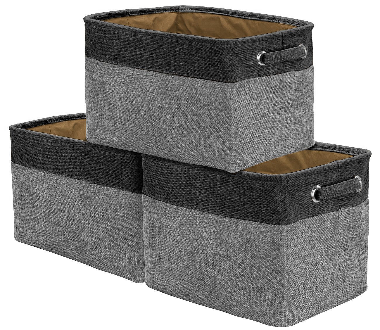 Sorbus Storage Large Basket Set [3-Pack] - 15 L x 10 W x 9 H - Big Rectangular Fabric Collapsible Organizer Bin with Carry Handles for Linens, Towels, Toys, Clothes, Kids Room, Nursery (Black/Grey)