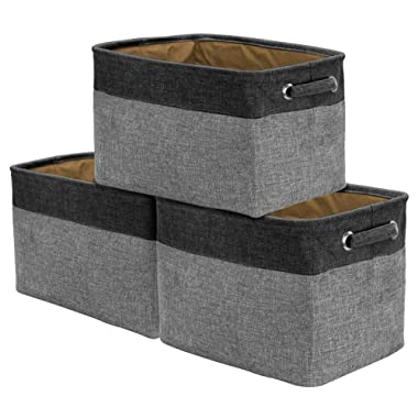 Sorbus Storage Large Basket Set [3-Pack] - 15 L x 10 W x 9 H, Big Rectangular Fabric Collapsible Organizer Bin Box with Carry Handles for Linens, Towels, Toys, Clothes, Kids Room, Nursery (Black/Grey)