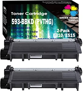 GTS Compatible PVTHG 593-BBKD Toner Cartridge Replacement [High Yield], for Dell E310dw E514dw E515dw E515dn LaserJet Printers (Set of 2, Black)
