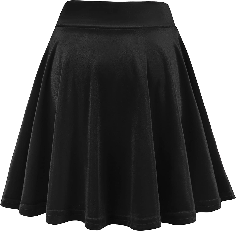 Womens Knee Length ChristmasParty Skater Skirt Elastic Waist Teal Green Velvet Skater Skirt High Waist Velour Circle Skirt