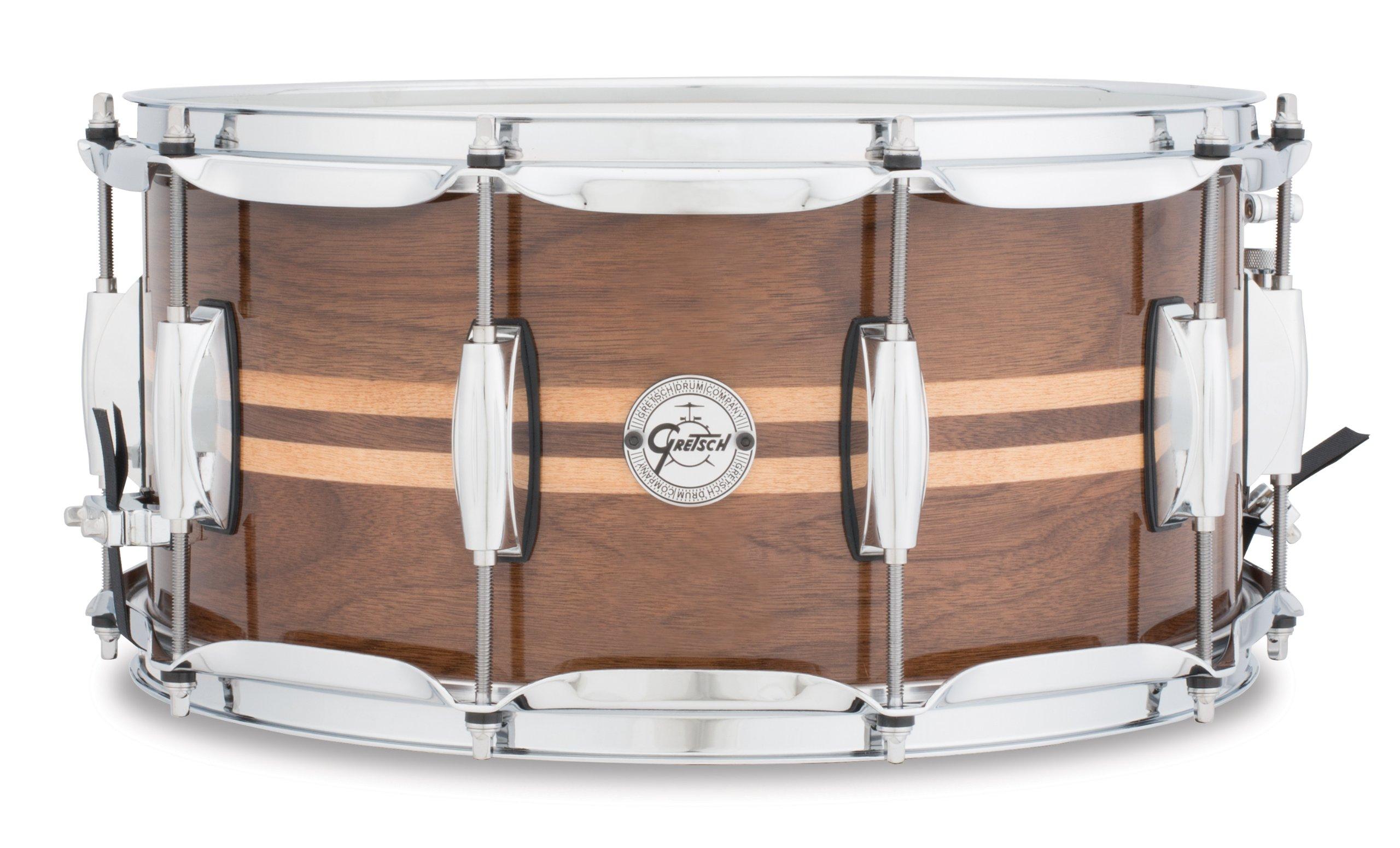 Gretsch Drums Full Range Series S1-6514W-MI 14x6.5'' Gloss Walnut Snare W/Maple Inlay by Gretsch