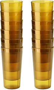 New Star Foodservice 46427 Tumbler Beverage Cups, Restaurant Quality, Plastic, 20 oz, Amber, Set of 12