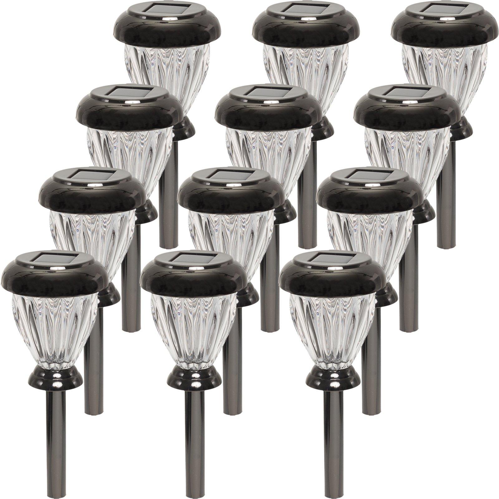 GreenLighting Nickel Plated Classic LED Solar Path Light (Black, 12 Pack)