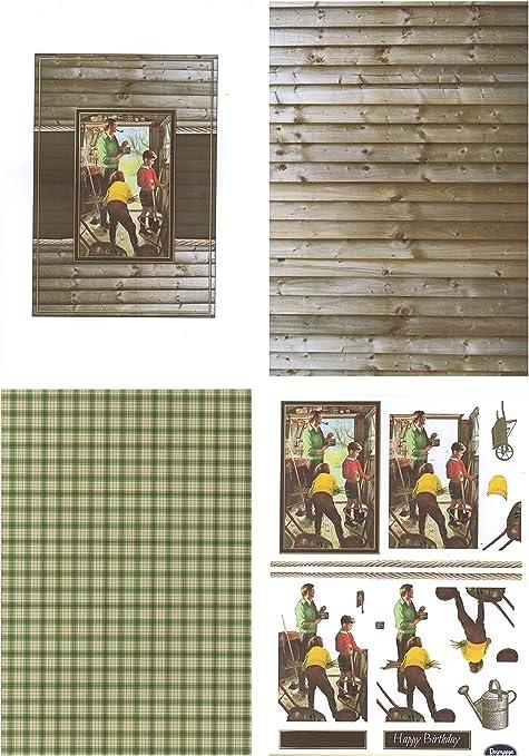 Decoración/Toppers/Papers Vintage – Cobertizo de jardín – Paquete de tarjetas – 4 hojas A4 – 160 g/m²: Amazon.es: Oficina y papelería