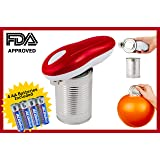 Automatic Electric Can Opener for Restaurant & Kitchen, Handy One Touch Smooth Edge Battery Tin Opener, Chef's Best Choice as easy to use TinCan Opener. Great Camping Cooking. 4 AA Batteries Included