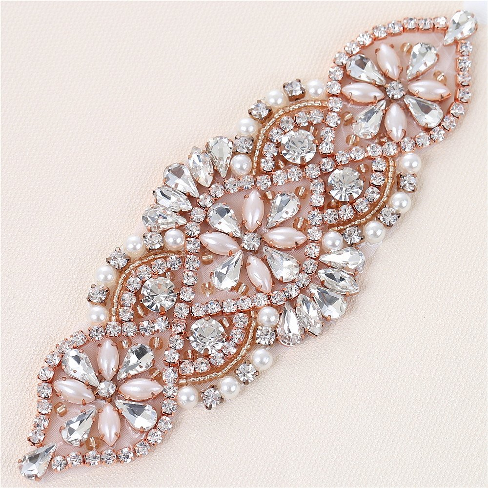 Rhinestone Applique - Bridal Wedding Crystal Applique Pearls Beaded Dacorations Handcrafted Sparkle Elegant Sewn or Hot Fix for Women Gown Sash Evening Prom Party Dress Belt Clothes - Rose Gold
