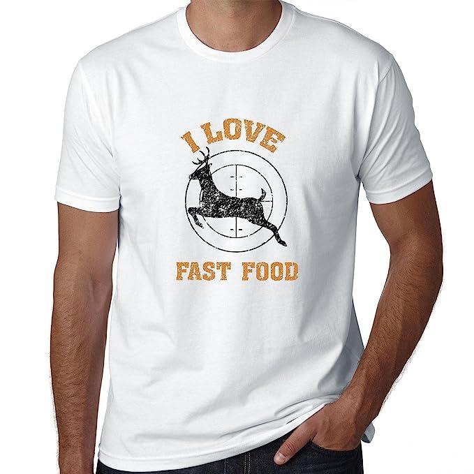 Ciervo caza I Love comida rápida divertido Hunter Graphic camiseta para hombre: Amazon.es: Ropa y accesorios