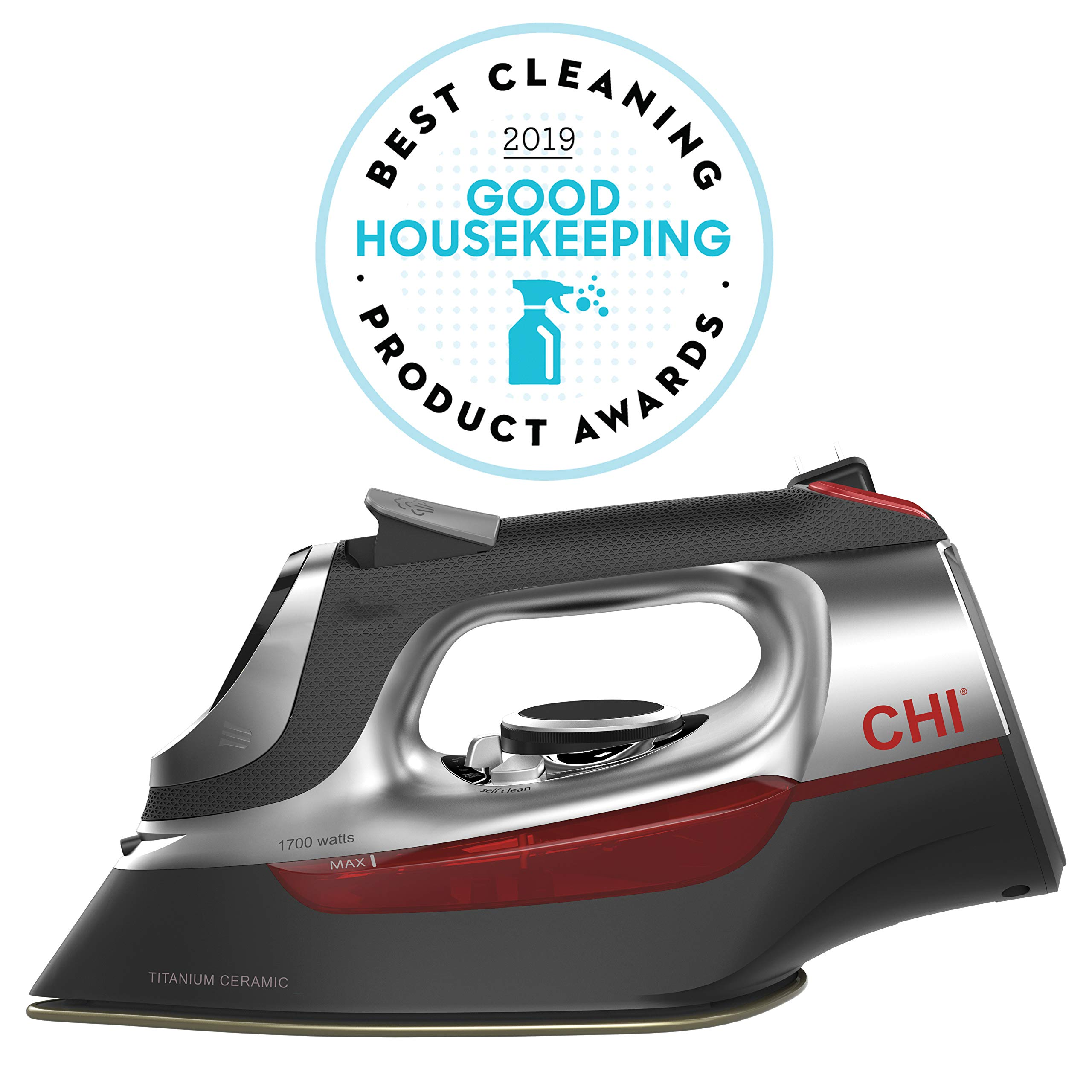 CHI (13102) Steam Iron with Retractable Cord, Electronic temperature controls, 1700 Watts, Titanium Infused Ceramic Soleplate & Over 400 Steam Holes, Professional Grade by CHI Steam
