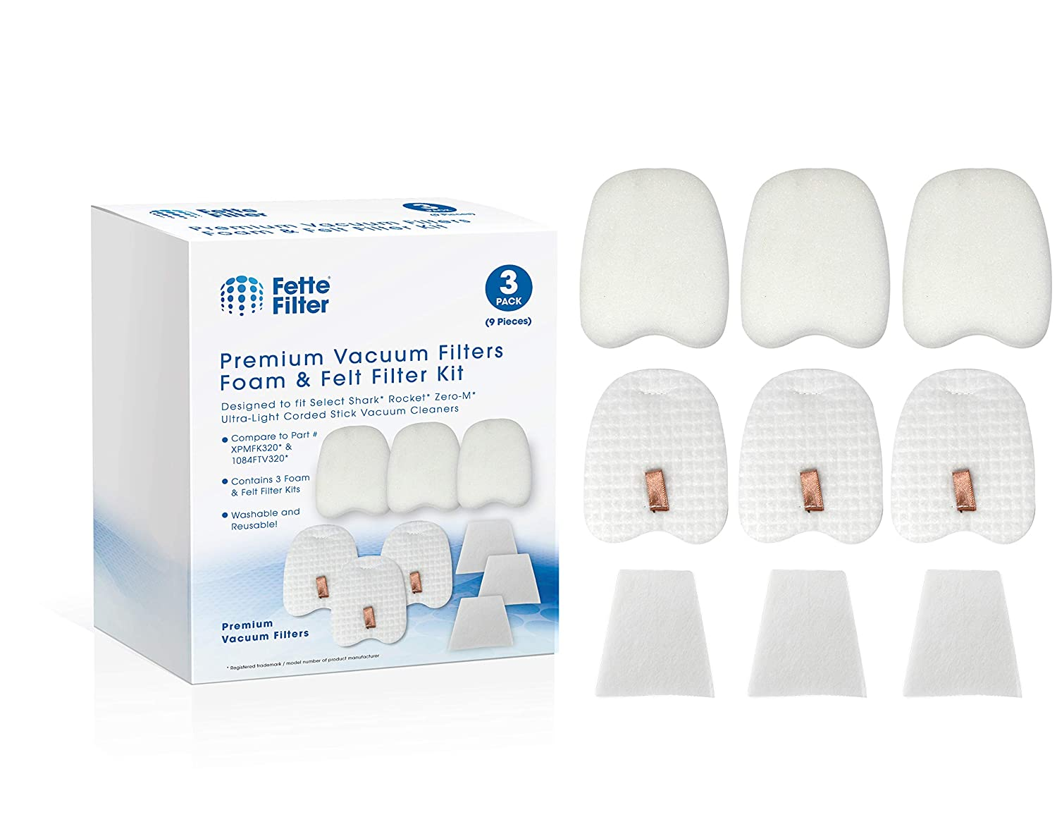 Fette Filter – Vacuum Filter Compatible with Shark Rocket Zero-M Ultra-Light Corded Stick HV345, ZS350, ZS351, ZS352. Compare to Part # XPMFK320 (3-Pack)