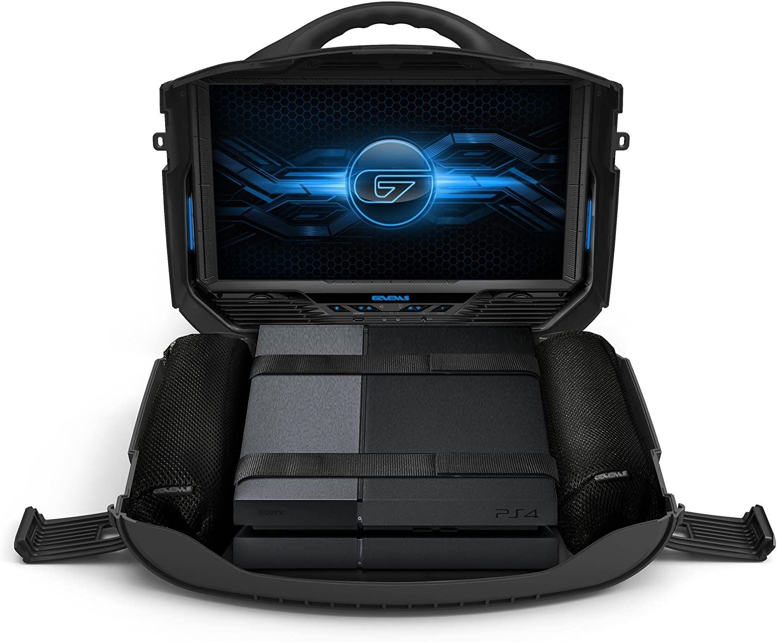 A portable console suitcase with a monitor that let[s you play with your Xbox or PS4 wherever you go.