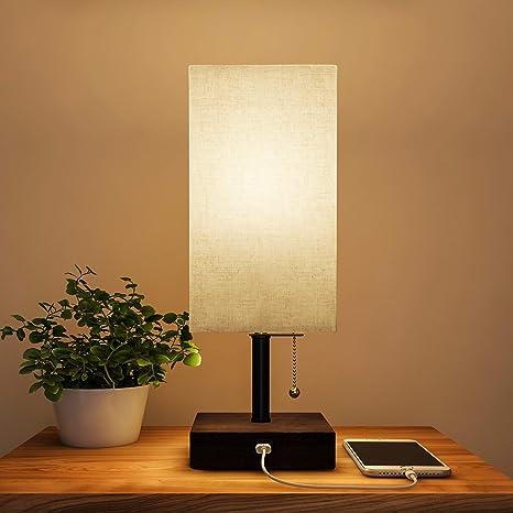 Amazon.com: Lavish Home Lámpara rectangular con madera Base ...