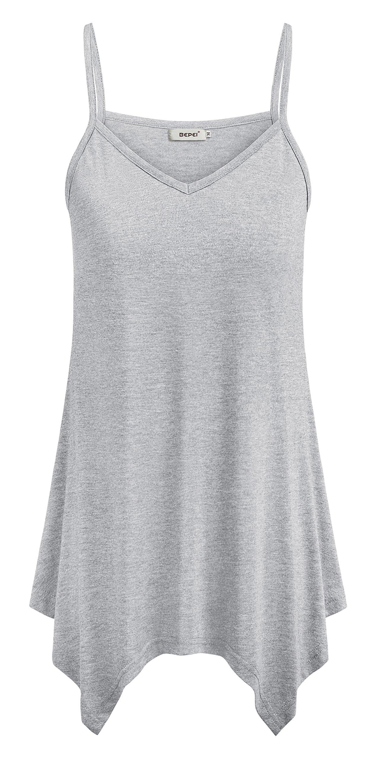 58f48cb92ea7de Galleon - BEPEI Womens Cami Spaghetti Strap Tunic Summer Basic Blouses  Lightweight Casual Handkerchief Hem Tank Tops