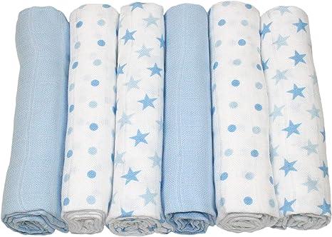 Baby Newborn 100/% Cotton 3 Pack Muslin Square Cloth 70x70cm Blue