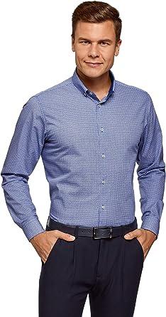 oodji Ultra Hombre Camisa Entallada con Botones en el Cuello