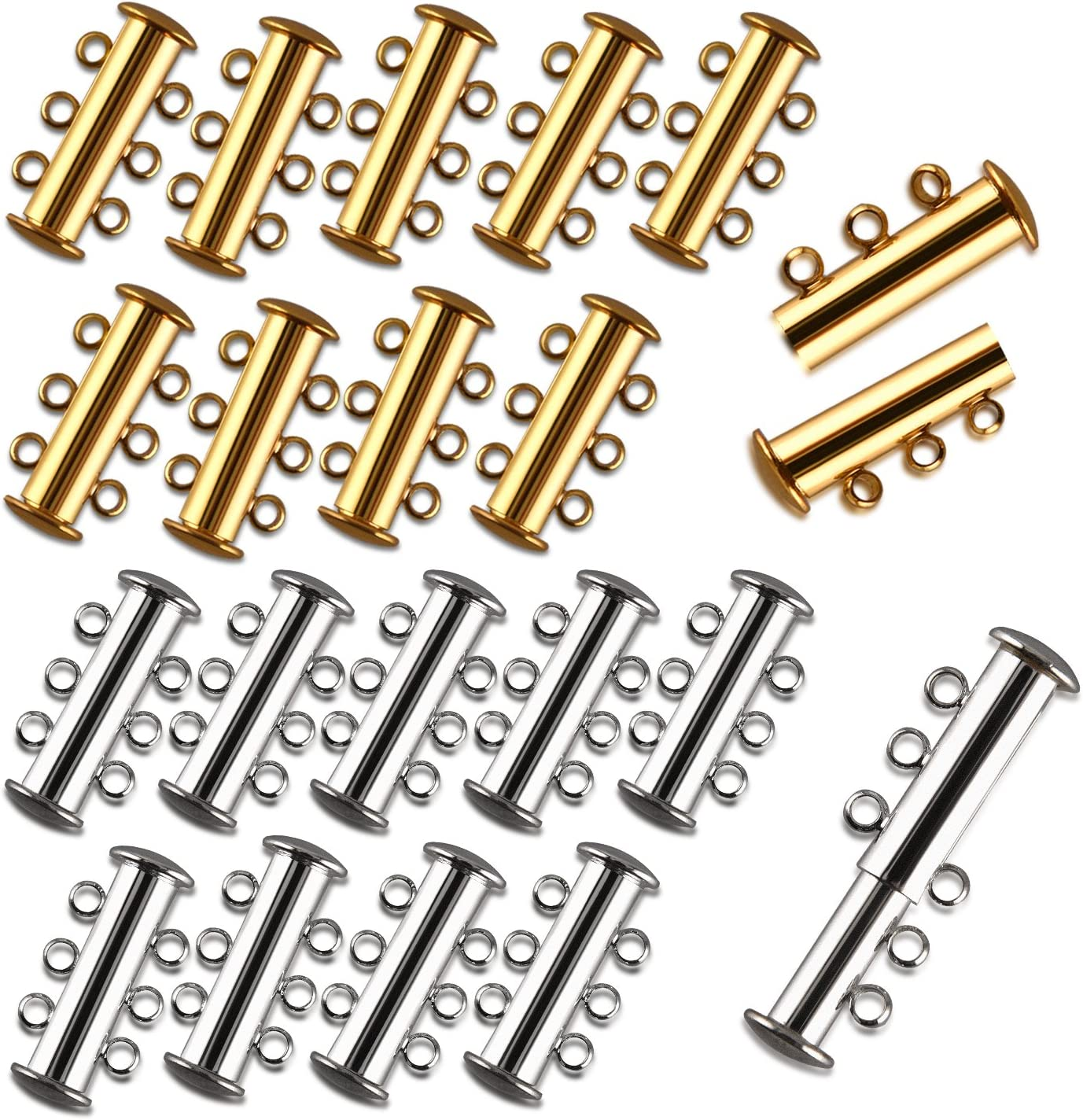 10pcs Mixed Silver Gold Magnetic Clasp Jewelry Necklace Bracelet Connector