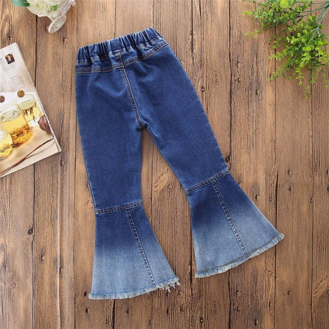 Goodtrade8 Toddler Infant Baby Girl Ruffle Wide Leg Jeans Denim Pants Outfit Clothes